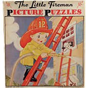 Vintage Picture Puzzles - Little Fireman Set of Two by Ruth E. Newton with Original Box
