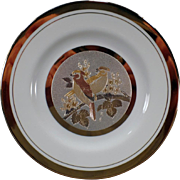 Vintage Art of Chokin Plate with Two Birds on a Branch