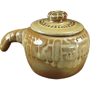 Vintage Frankoma - Covered Bean Pot - Mayan Aztec, Desert Gold Glaze