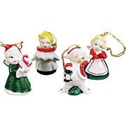 Vintage Christmas Tree Ornaments - Set of 4 Miniature Porcelain Figures