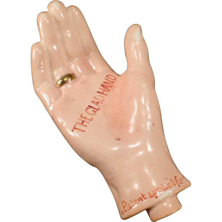Vintage Porcelain Flask – The Glad Hand with a Gold Band Ring