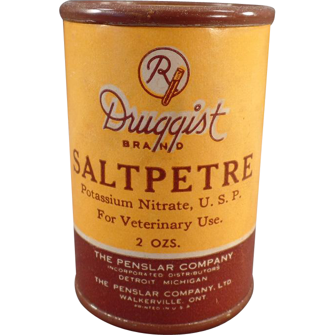 Vintage Saltpetre Tin – Veterinary Medical Container
