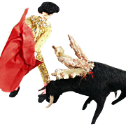 Vintage Cloth Matador Doll and Bull - Great Character