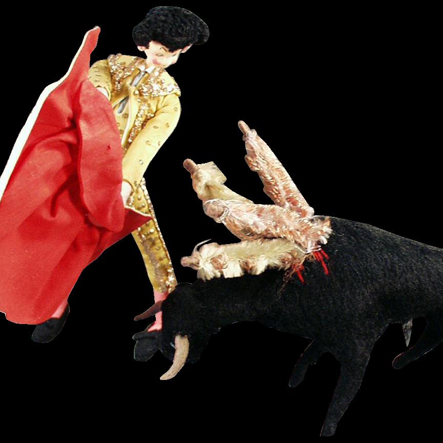 Vintage Cloth Matador Doll and Bull - Great Character