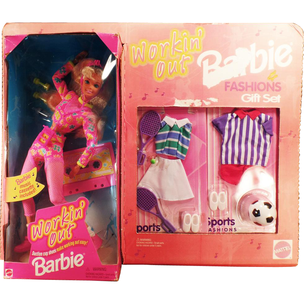 Vintage Workin' Out Barbie Doll and Fashions Gift Set – Tennis and Soccer Clothes