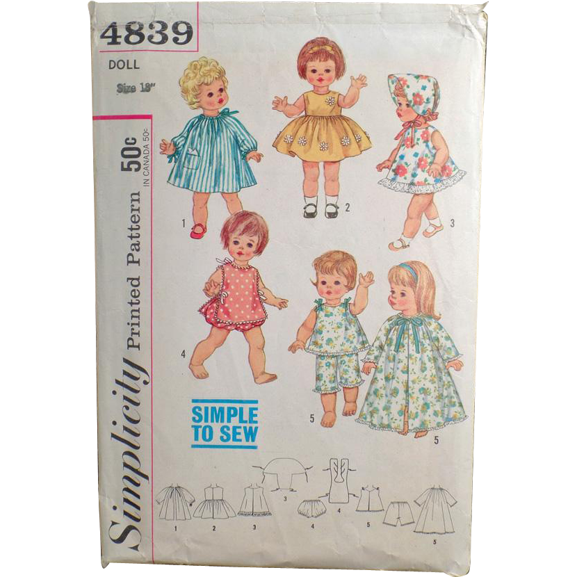 Vintage Simplicity Pattern #4839 - Doll Clothes for Chatty Baby & Other Toddler Dolls