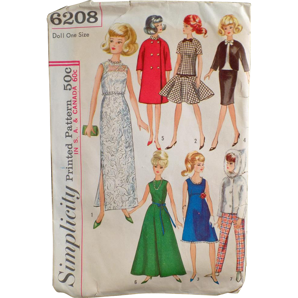 Vintage Simplicity Pattern #6208 - Doll Clothes for Teen Model Dolls