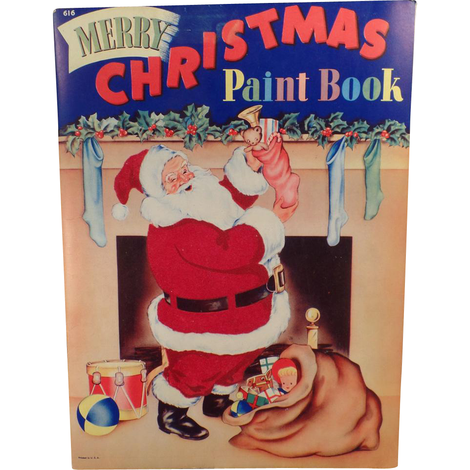 Vintage Christmas Paint and Coloring Book – Wonderful Santa and Other Images