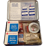 Vintage Johnson & Johnson First Aid Travelkit Tin with Contents