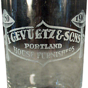 Vintage Advertising Glass - Gevurtz & Sons Furniture Store - Portland, Oregon