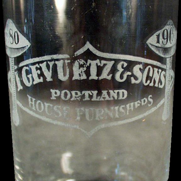 Vintage Advertising Glass - Gevurtz & Sons Furniture Store - Portland, Oregon