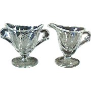Vintage Heisey - Orchid Etch on Waverly Pattern - Individual Cream & Sugar Set