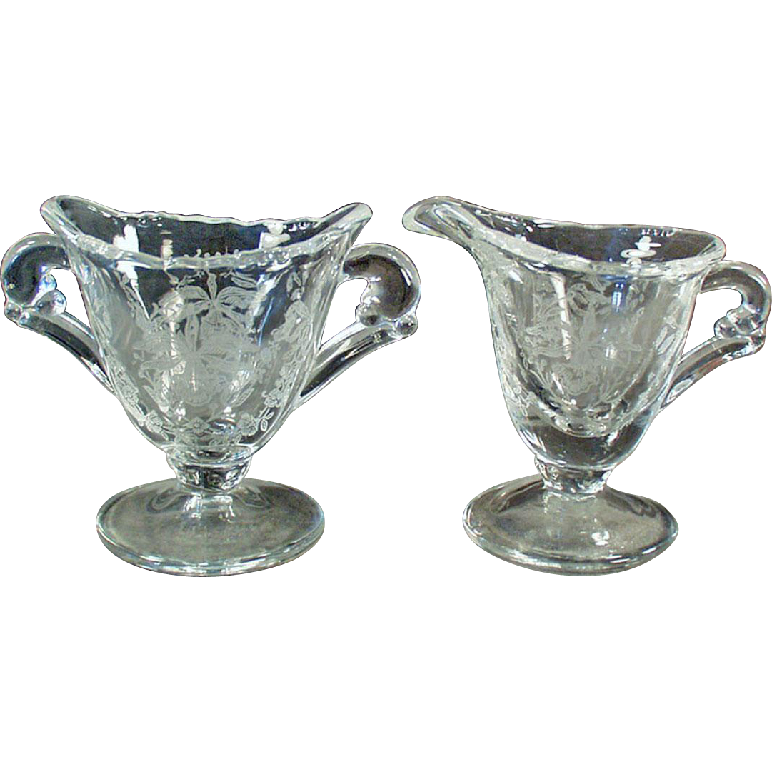 Vintage Heisey - Orchid Etch on Waverly Pattern - Individual Cream & Sugar Set
