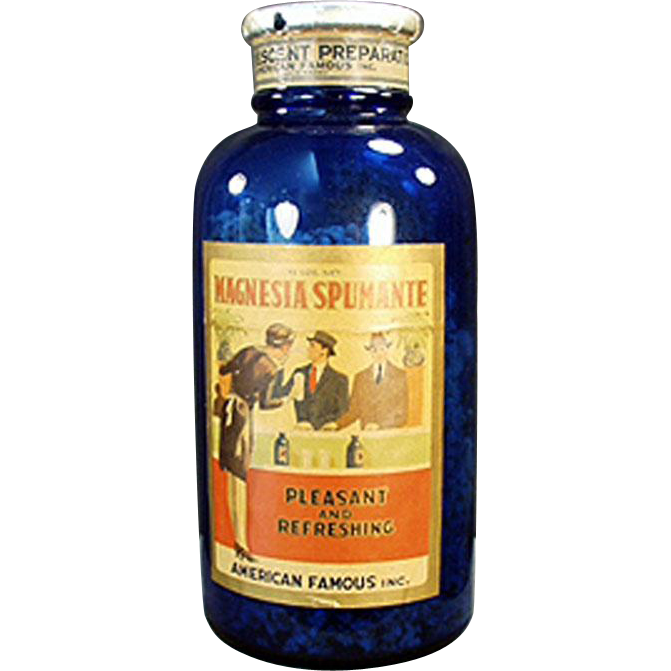 Vintage Cobalt Blue Glass Bottle with Magnesia Spumante Label