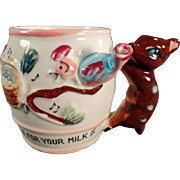 Child's Vintage Milk Cup - Whistle for Your Milk with Deer Handle