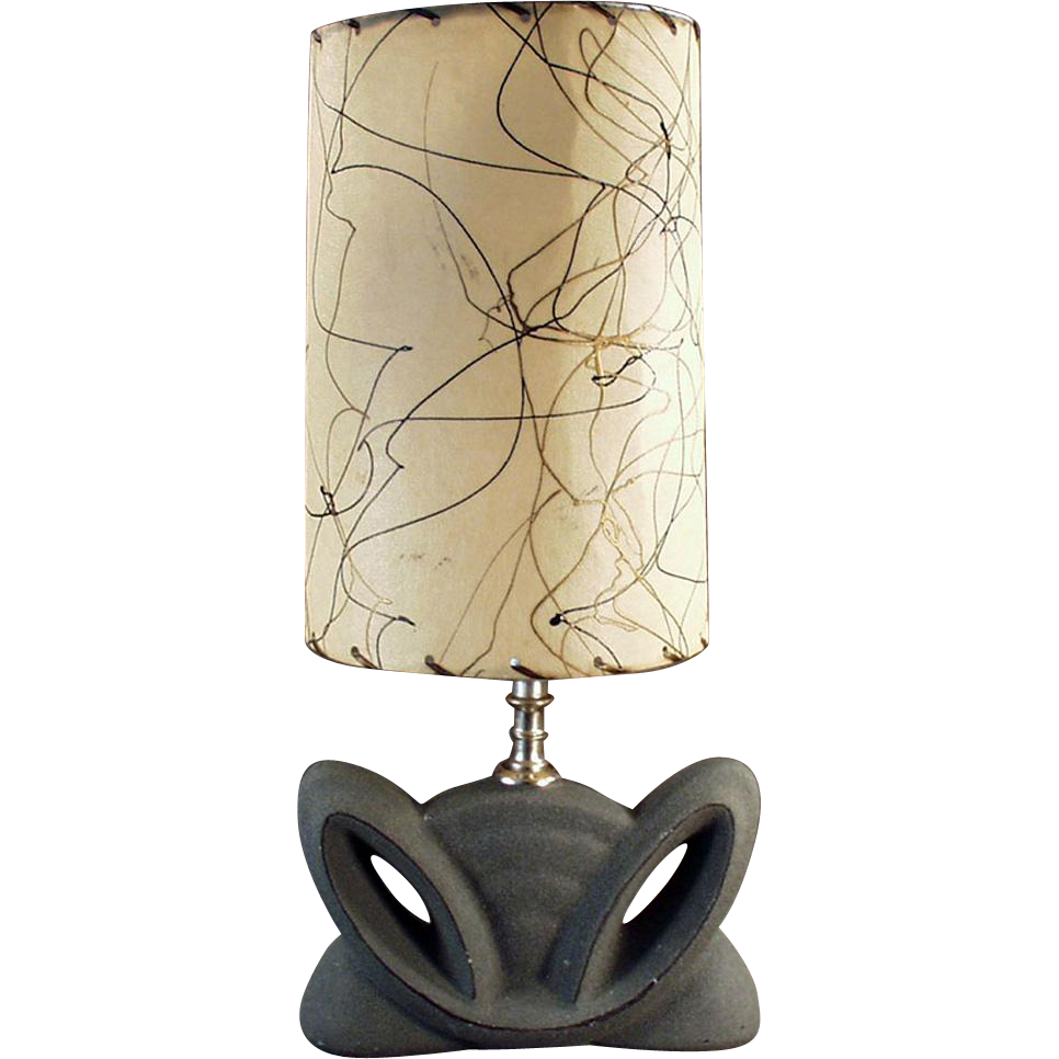 Vintage Table Lamp - Deco Styled Pottery Base with Original Shade