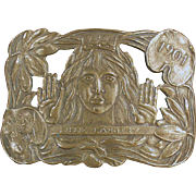 Vintage Brass Belt Buckle - Lillie Langtry - The Jersey Lily
