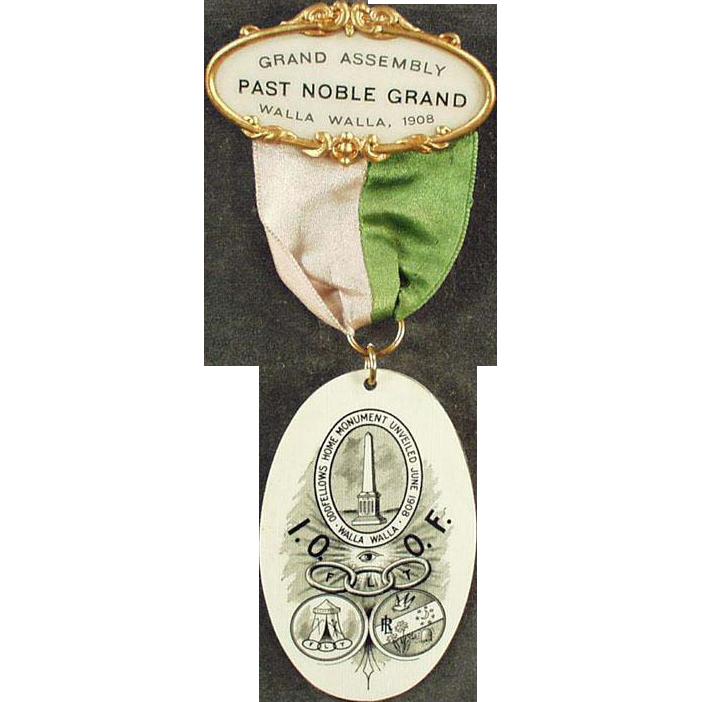 Vintage Odd Fellows Fraternal Pin - 1908, Walla Walla Odd Fellows Memorabilia - Celluloid