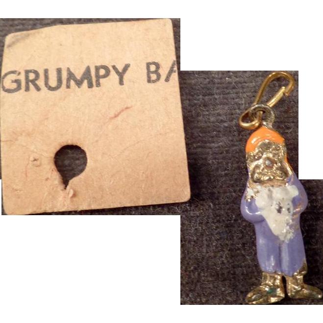 Vintage Miniature Charm of Disney's Grumpy – Enamel on Goldtone