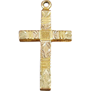 Vintage Gold Filled Cross Pendant with Etched Design