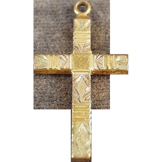 Vintage Gold Filled Cross Pendant with Etched Design