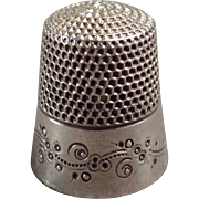 Vintage Sterling Silver Thimble with Pretty Design - Ketcham & McDougall