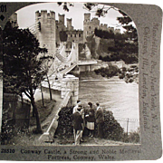 Vintage Stereoscopic Card - Beautiful, Conway Castle in Wales #201