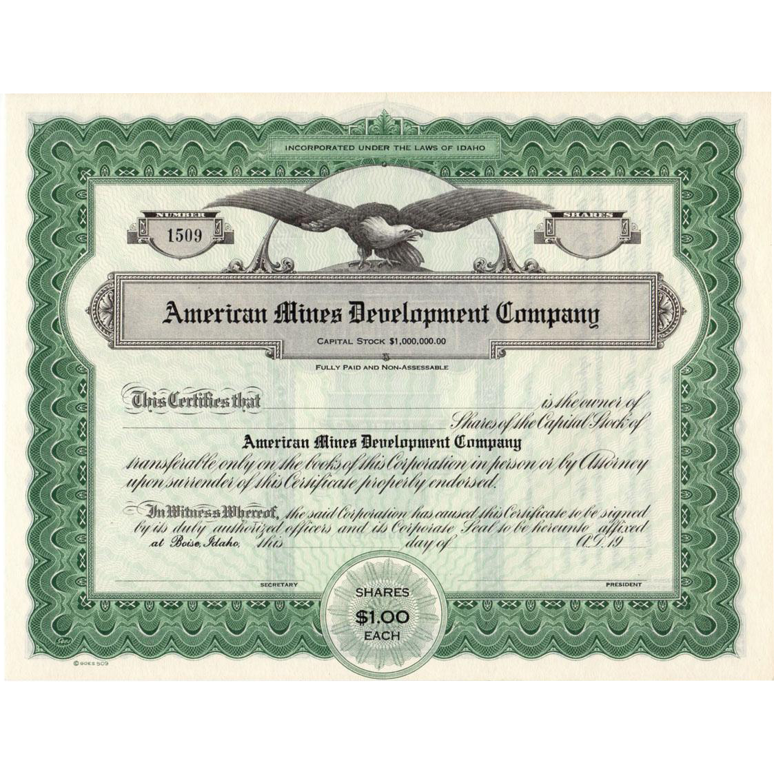 Vintage Idaho Mining Stock - Capital Stock Certificate - Late 1920's - Unissued Stock