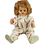 "Vintage 16"" Vinyl Doll -  Little Girl in Flannel Christmas Pajamas"