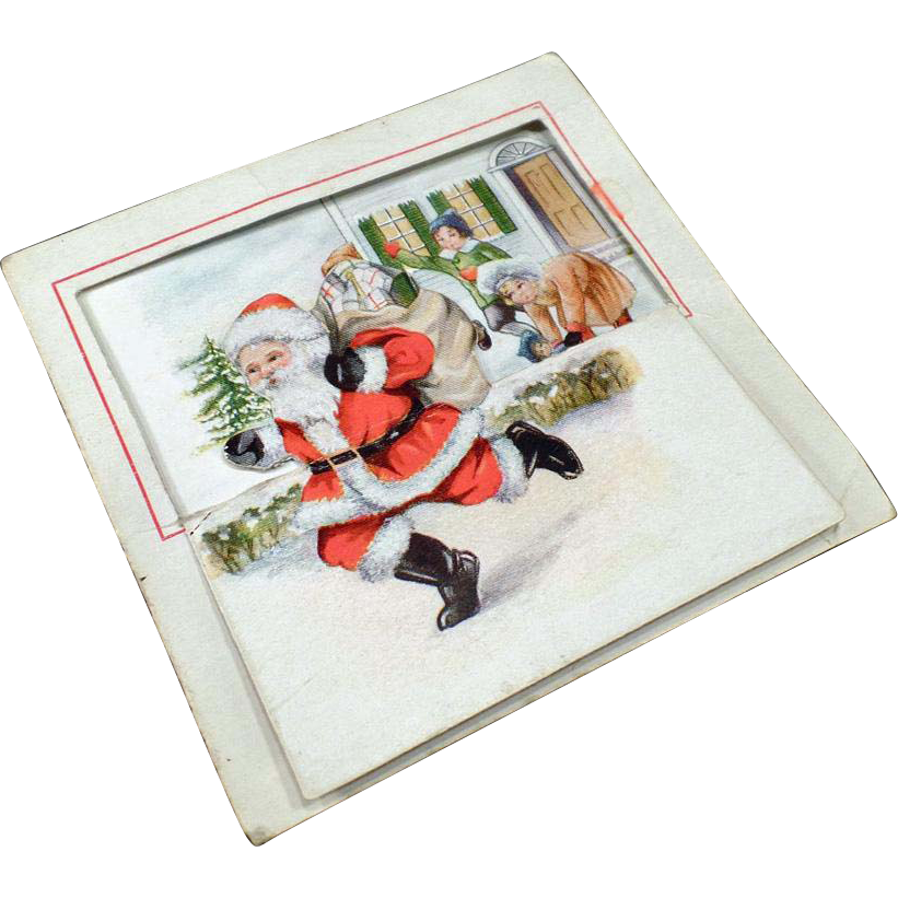 Vintage Christmas Card with Children and Santa Claus