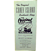 Vintage Menu – The Original Coney Island Sandwich Shop of Portland, Oregon