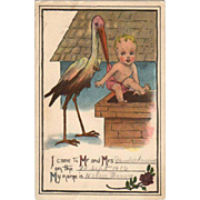 Vintage Postcard - Birth Announcement with Stork & Baby