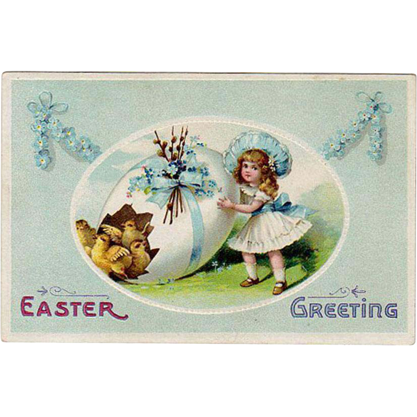 Vintage Easter Postcard with Little Girl, Decorated Egg & Baby Chicks