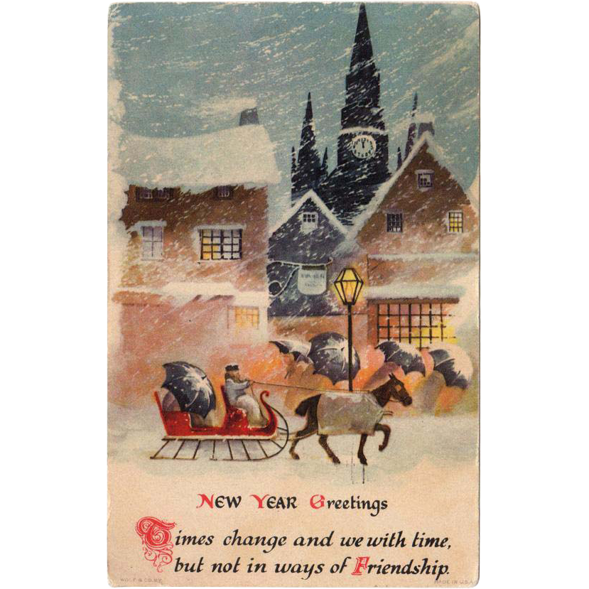 Vintage New Year's Postcard with a Winter Village Scene