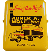 Vintage Advertising Paper Clip - Abner A. Wolf, Inc. with Old Truck Graphics