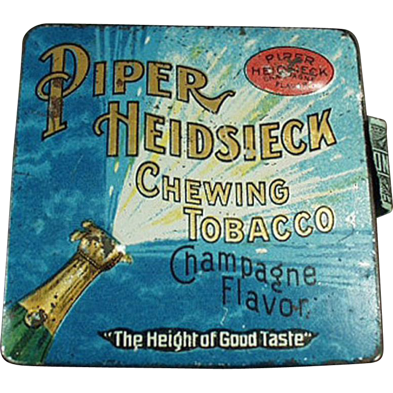 Vintage Tobacco Tin - Piper Heidsieck Champagne - Colorful and Fun Graphics
