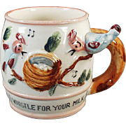 Vintage All Gone Child's Milk Cup with a Whistling Handle