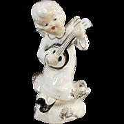 Vintage Porcelain Angel Playing an Instrument