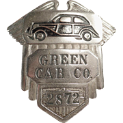 Vintage Taxi Driver's Cap Badge - Green Cab Co.