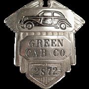 Vintage Taxi Driver's Cap Badge - Green Cab Co.
