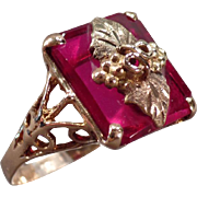 Ladies Vintage Black Hills Gold and Synthetic Ruby Ring – Pretty Mounting