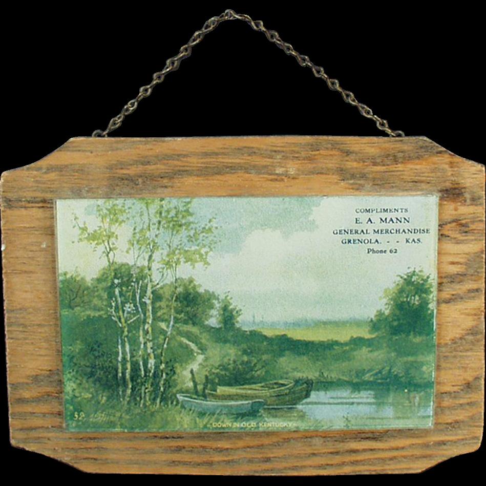 Vintage Advertising Print Behind Glass on Wood - Down in Old Kentucky
