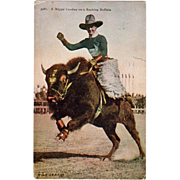 Vintage U.P.R.R. Co. Photo Postcard - Cowboy on Buffalo
