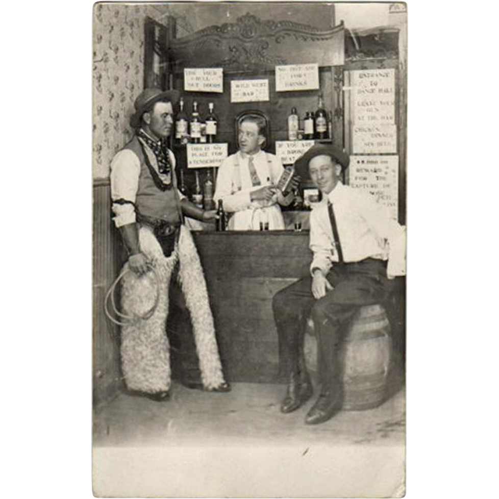 Vintage Postcard - Real Photo - Cowboys in a Saloon - 1913