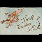 Vintage Valentine Postcard - Hugging Cupids & Roses