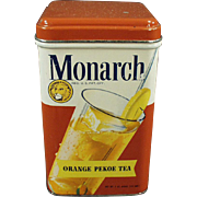 Vintage Monarch Tea Tin with Colorful Graphics