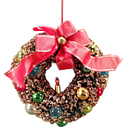 """Vintage Bottle Brush Christmas Decoration – 6"""" Wreath with Glass Ornaments"""