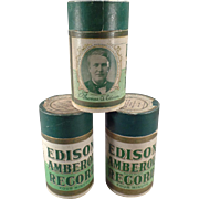 Vintage Edison Cylinder Phonograph Records – 3 Edison Wax Amberol  with Original Boxes