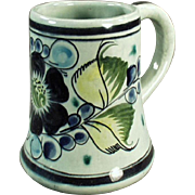 Vintage Pottery Coffee Mug - Tonala Mexico - Pretty Floral Design