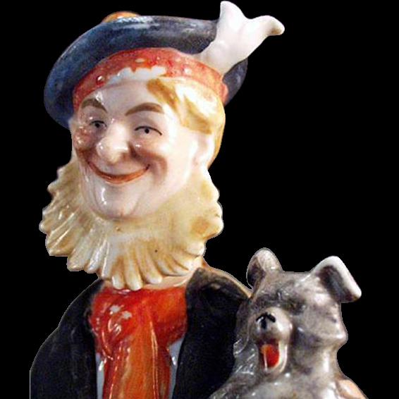 Vintage Schafer & Vater Figural Flask - Old Scotch and Little Scotch - Man & Dog